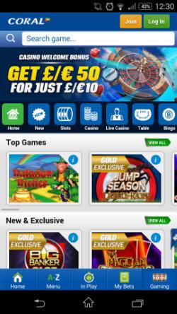 Coral Mobile Casino - video slots