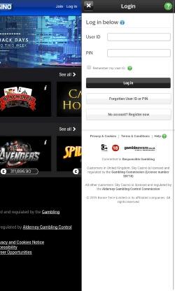 Sky Casino Android Mobile App | CompareFreeCasino