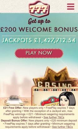 777 Mobile Casino - Get £21 free no deposit needed. Play online casino games.