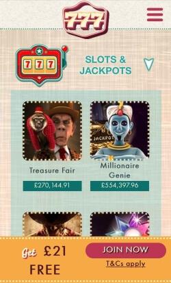 777 Mobile Casino - Play progressive jackpots such as Treasure Fair and Irish Riches