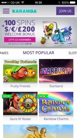 Get casino bonuses on the Karamba Casino iOS App