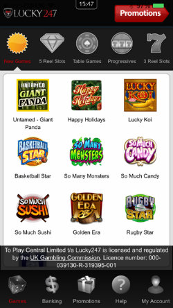 Play video slots on the Lucky247 Casino iOS App
