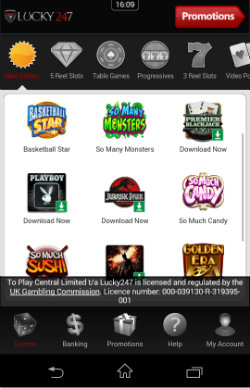 Play video slots at Lucky247 Mobile Casino