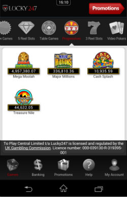 Play progressive jackpots games at Lucky247 Mobile Casino