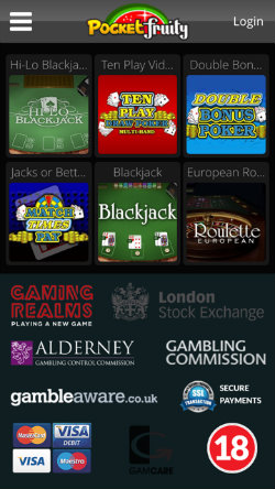 Pocket Fruity Blackjack and Roulette games on i-Phone and i-Pad