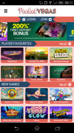 Play mobile slots at Pocket Vegas Mobile Casino
