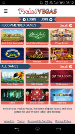Play online casino games at Pocket Vegas Mobile Casino