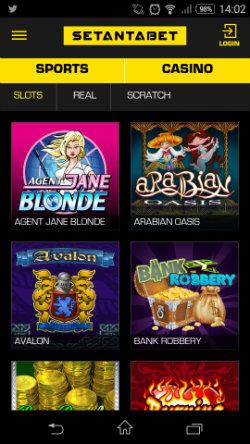 Play mobile slots at Setantabet Mobile Casino