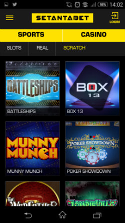 Win on scratch cards at Setantabet Mobile Casino
