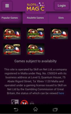 Play online Roulette at Slots Magic Mobile Casino