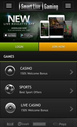 Smart Live Mobile Casino offers casino games, live roulette and sports betting on the go