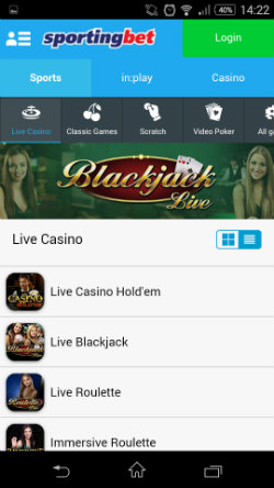 Live casino on Sportingbet Mobile