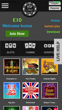 Play online casino games on the VIP Club Casino iOS App