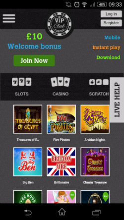 Play online casino games at VIP Club Mobile Casino