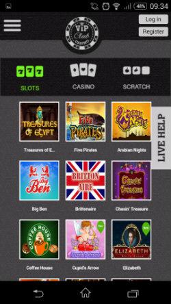 Play video slots at VIP Club Mobile Casino