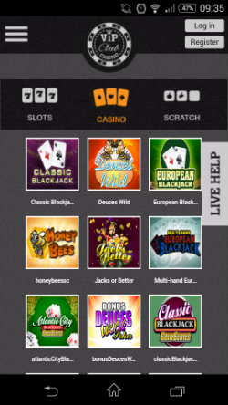 Play online Blackjack, Roulette and video poker at VIP Club Mobile Casino