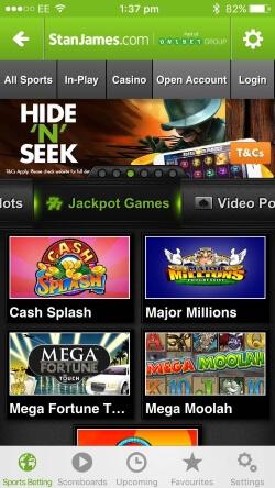 Stan James Casino IOS App - Play progressive jackpots such as Mega Fortune and Mega Moolah