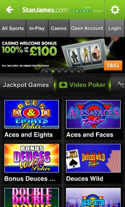 Stan James Mobile Casino - play blackjack, roulette and online slots on your mobile