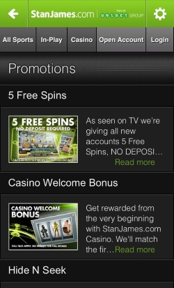 Stan James Mobile Casino offers casino games including blackjack and roulette plus sports betting on the go