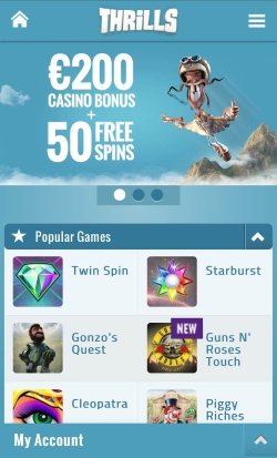 Thrills Casino   Get up to £200 Free Casino Bonus and 50 Free Spins