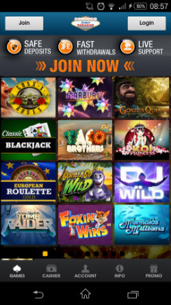 Play mobile slots at Jackpot Paradise Mobile Casino