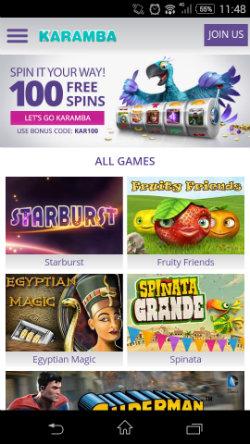 Play casino online at Karamba Mobile Casino