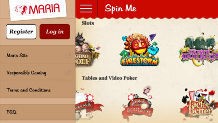 Play mobile slots on the Maria Casino Spin Me app