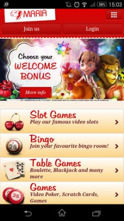 Play online casino games at Maria Mobile Casino