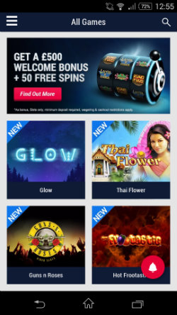 Get casino bonuses at Party Mobile Casino