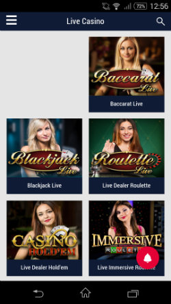 Play live casino games at Party Mobile Casino