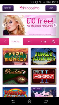 Get casino bonuses & casino rewards at Pink Casino Mobile