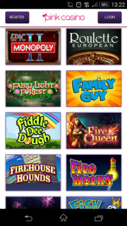 Play progressive jackpots at Pink Casino Mobile