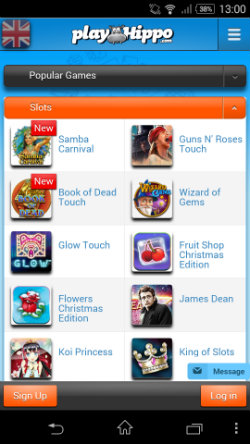 Play mobile slots on the PlayHippo Android App