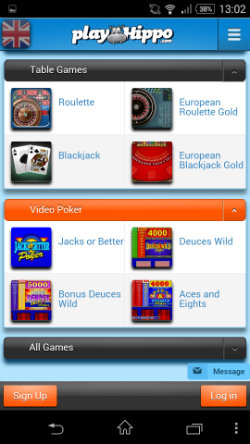 Play Roulette & Blackjack on the PlayHippo Android App
