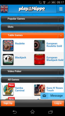 Play Blackjack & Roulette at PlayHippo Mobile Casino