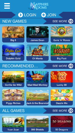 Play online casino games on the Sapphire Rooms Casino App