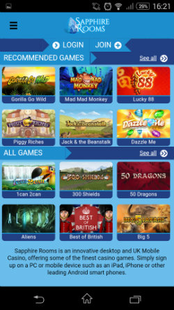 Play casino online at Sapphire Rooms Mobile Casino