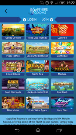 Play mobile slots at Sapphire Rooms Mobile Casino