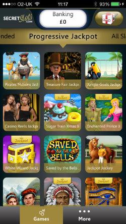 Play progressive jackpots on the SecretSlots Casino App