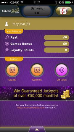 Get SecretSlots Mobile Casino rewards on the SecretSlots Casino App