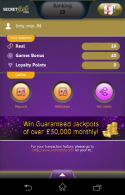 Get casino bonuses at SecretSlots Mobile Casino