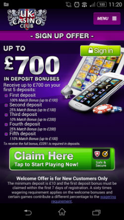 Get casino bonuses at UK Casino Club Mobile