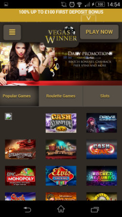 Get casino bonuses & Casino rewards at Vegas Winner Mobile Casino