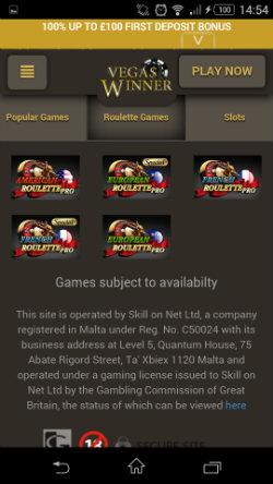 Play online Roulette at Vegas Winner Mobile Casino