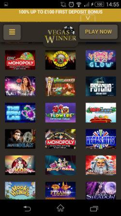 Play mobile slots at Vegas Winner Mobile Casino