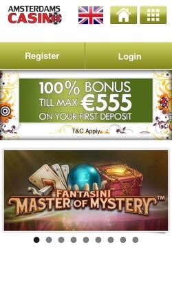 Amsterdams Mobile Casino | Get £10 free no deposit bonus and 10 free spins