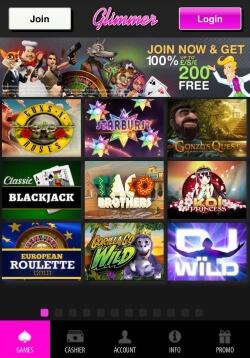 Glimmer Mobile Casino | Get up to £200 in free casino bonus
