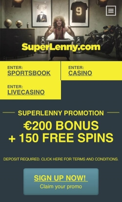 SuperLenny Mobile Casino | Get up to £150 casino bonus and 150 free spins