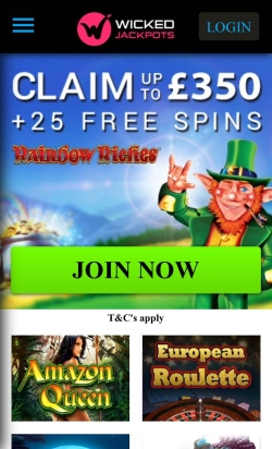 Wicked Jackpots Mobile Casino | Get up to £1,100 in casino bonuses and 130 free spins