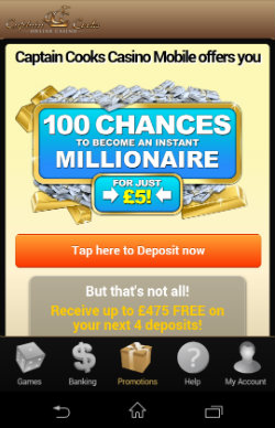 Get casino rewards & casino bonuses at Captain Cook Casino Mobile